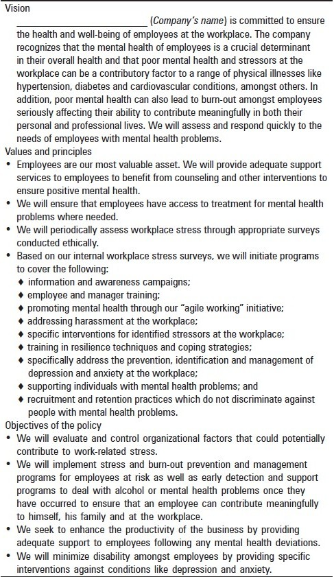 Table 1 :Sample workplace mental well-being policy