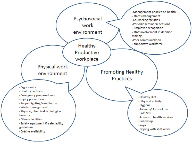 Figure 1: Model for healthy workplace in industrial setting in northern India