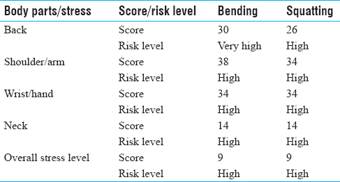 Table 5: Postural analysis by quick exposure checklist method: Scores and risk level of workers engaged in uprooting job of rice cultivation